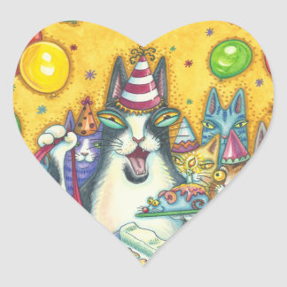 Hiss N' Fitz Cats BIRTHDAY STICKERS Sheet Heart