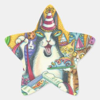 Hiss N' Fitz Cats BIRTHDAY STICKERS Sheet Stars