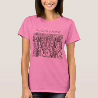 Hiss N' Fitz Cats PARTY ANIMALS T SHIRT Pink