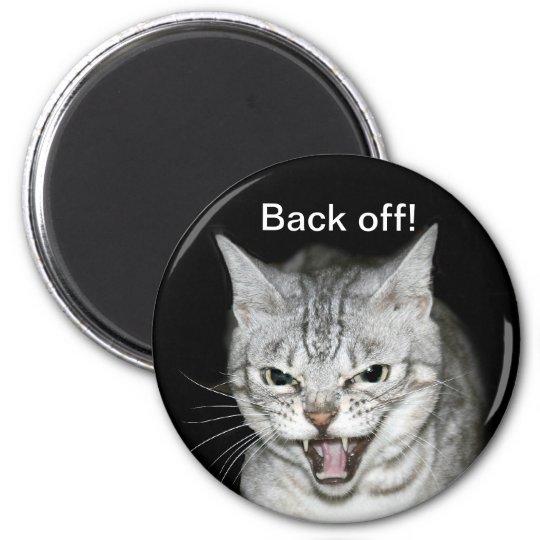 Hissing cat 6 cm round magnet