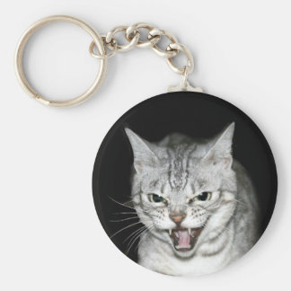 Hissing cat basic round button key ring