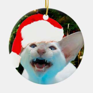 Hissing Cat in a Santa Hat Christmas Ornament