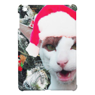 Hissing Cat in a Santa Hat Cover For The iPad Mini