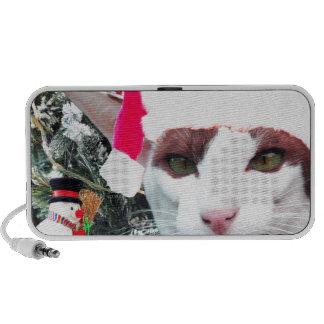 Hissing Cat in a Santa Hat Laptop Speaker