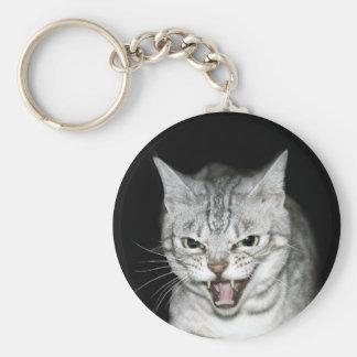Hissing cat key ring