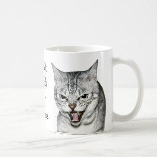Hissing cat basic white mug