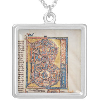 Historiated initial 'B' depicting King David Silver Plated Necklace
