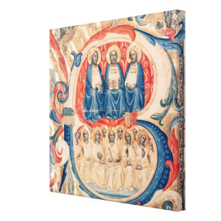 Historiated initial 'B' depicting the Trinity Canvas Print
