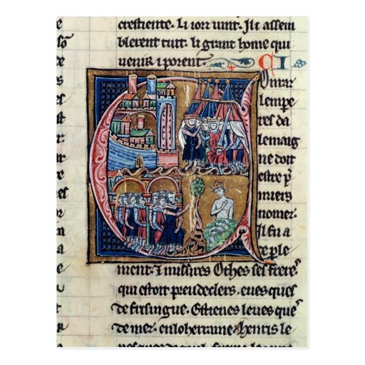 Historiated initial 'C' depicting Conrad III Postcard