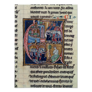 Historiated initial 'C' depicting Conrad III Poster