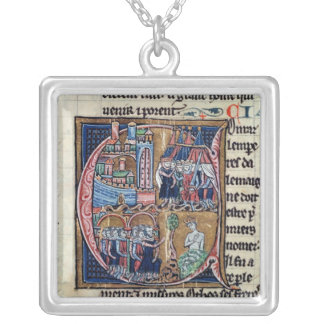 Historiated initial 'C' depicting Conrad III Silver Plated Necklace