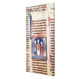 Historiated initial 'D' depicting a marriage Canvas Print