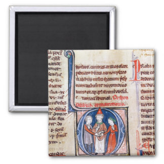 Historiated initial 'D' depicting a marriage Magnet