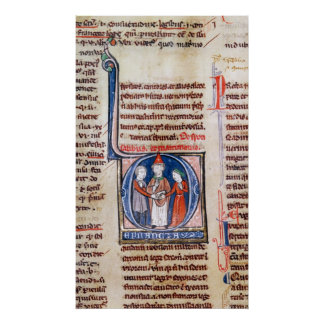 Historiated initial 'D' depicting a marriage Poster