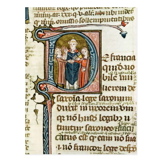 Historiated initial 'D' depicting a priest Postcard