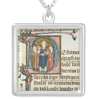 Historiated initial 'D' depicting a priest Silver Plated Necklace