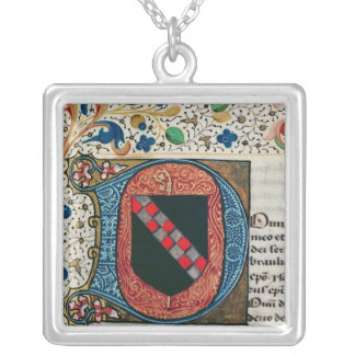 Historiated initial 'D' depicting coat of arms Silver Plated Necklace