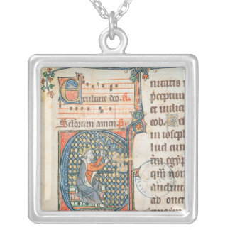 Historiated initial depicting King David playing Silver Plated Necklace
