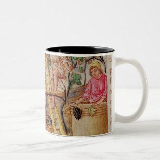 Historiated initial 'E' depicting grape picking Two-Tone Coffee Mug