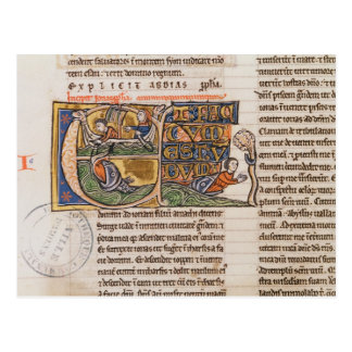 Historiated initial 'E' depicting Jonah Postcard