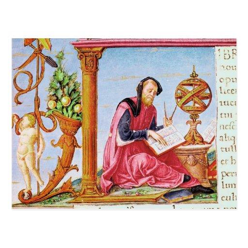 Historiated initial 'L' depicting Pliny the Postcard