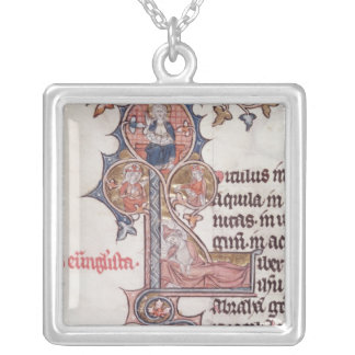 Historiated initial 'L' depicting Tree of Silver Plated Necklace