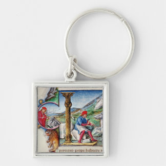 Historiated initial 'L' Silver-Colored Square Key Ring