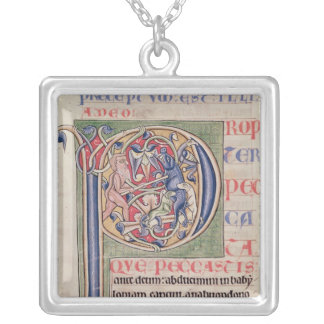 Historiated initial 'P' depicting a boar hunt Silver Plated Necklace