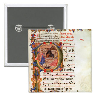 Historiated initial 'P' depicting the Nativity Buttons
