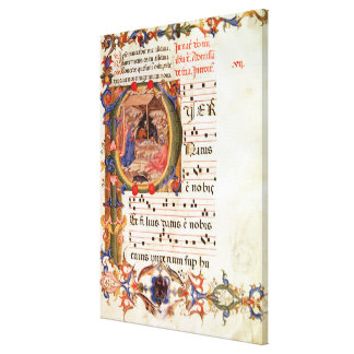 Historiated initial 'P' depicting the Nativity Canvas Print