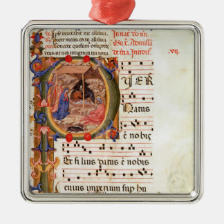 Historiated initial 'P' depicting the Nativity Christmas Ornament