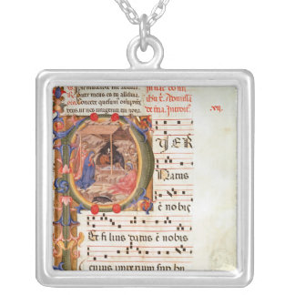 Historiated initial 'P' depicting the Nativity Silver Plated Necklace