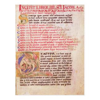 Historiated initial 'Q' depicting three Postcards