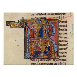 Historiated initial 'R' depicting the Sultan Poster