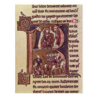 Historiated initial 'R' Postcard