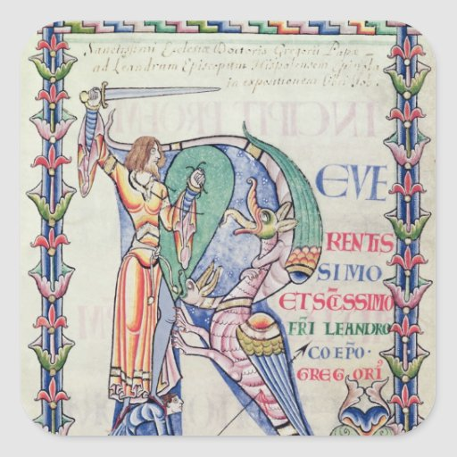 Historiated initial 'R' Square Stickers
