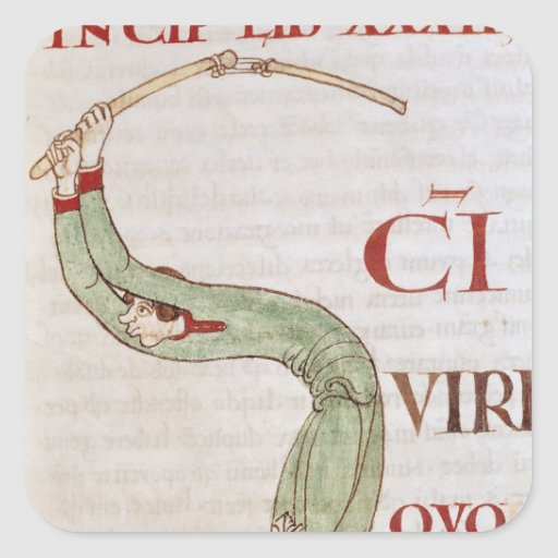 Historiated initial 'S' depicting a man Square Stickers