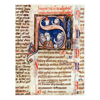 Historiated initial 'S' depicting Pope Gregory Postcard