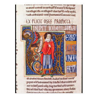 Historiated initial 'U' depicting Joel Postcard