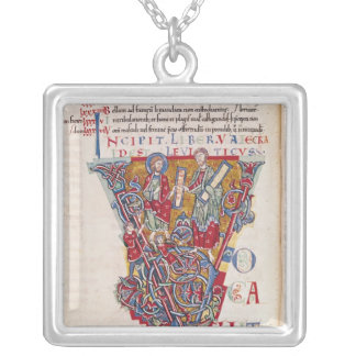 Historiated initial 'V' depicting a scene Silver Plated Necklace