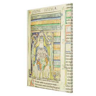 Historiated letter 'A' depicting generations Canvas Print