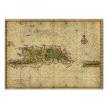 Historic 1639 Map of Hispaniola - Joan Vinckeboons Poster
