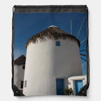 Historic 16th century Cycladic style windmills Drawstring Backpacks
