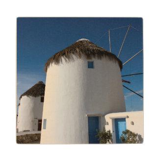 Historic 16th century Cycladic style windmills Wood Coaster