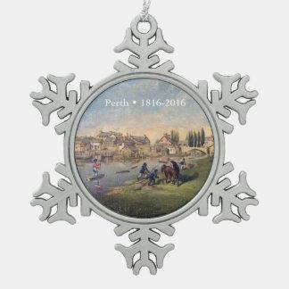 Historic 1853 Painting Perth Ontario Pewter Snowflake Decoration