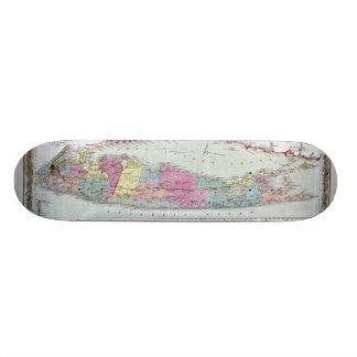 Historic 1855-1857 Travellers Map of Long Island 19.7 Cm Skateboard Deck