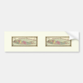 Historic 1855-1857 Travellers Map of Long Island Car Bumper Sticker