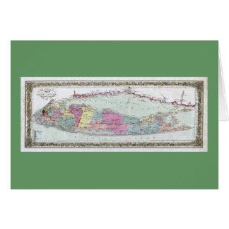 Historic 1855-1857 Travellers Map of Long Island Greeting Card
