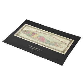 Historic 1855-1857 Travellers Map of Long Island Placemat