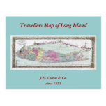 Historic 1855-1857 Travellers Map of Long Island Post Cards